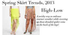 """""""High-Low"""" skirts are super popular this season. For more Spring Skirt Trends, 2013 and info on the skirts pictured here, visit: stylesetgo.com/blog/spring-fashion-2013-skirt-trends/  #SpringFashion #Fashion #Style"""