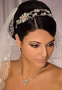 Bridal tiara by Bel Aire Bridal of crossed double bands  YES you can wear a headband and a veil