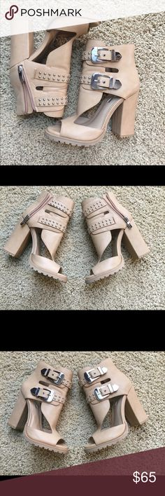 BCBGeneration size 7 chunky heels - sassy!  Like new!!  Taupe colored chunky style sandal heels.  These shoes are so sassy - perfect for a night out on the town! BCBGeneration Shoes Sandals