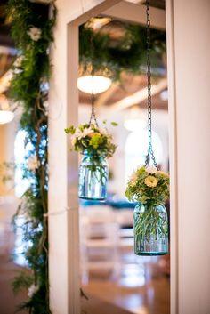 Hanging wedding ceremony flowers in mason jars - Aqua Blue and Brown Country Wedding Lake Mirror Complex Lakeland – Lakeland Wedding Photographer Jeff Mason Photography