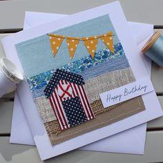 Beach Hut Birthday Card – Handmade Original Fabric Embroidered Card Beach Hut and Seaside Card – Handmade Original Textile Card – Collage Card – Birthday Card – Happy Birthday Card Fabric Cards, Fabric Postcards, Paper Cards, Embroidery Cards, Free Motion Embroidery, Handmade Birthday Cards, Happy Birthday Cards, Card Birthday, Freehand Machine Embroidery