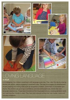 I n Kindergarten the children experiment with language every day. They start the day by sharing stories with others, before engaging in . Inquiry Based Learning, Early Learning, Kids Learning, Learning Spaces, Visible Learning, Learning Through Play, Educational Activities, Learning Activities, Teaching Ideas