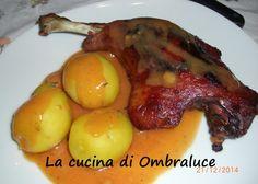 Coscia d'anatra arrosto con salsa al vino bianco