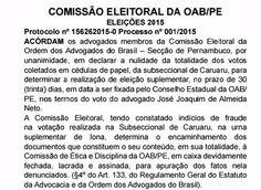 Eleição para nova diretoria da OAB Caruaru será no dia 17 de dezembro http://www.jornaldecaruaru.com.br/2015/12/eleicao-para-nova-diretoria-da-oab-caruaru-sera-no-dia-17-de-dezembro/