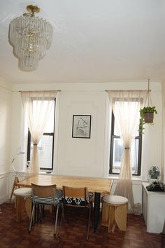 Dining Room: window treatments for windows with no room for drapes