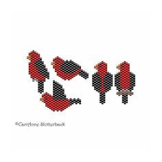 Mini Scarlet Tanager 1-5 peyote pattern by NaturalWondersbyCari