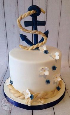 Nautical cake - For all your cake decorating supplies, please visit… Pretty Cakes, Cute Cakes, Fondant Cakes, Cupcake Cakes, Anchor Cakes, Boat Cake, Nautical Cake, Nautical Theme, Ocean Cakes