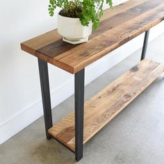Console Table with Lower Shelf / Reclaimed Wood Sofa Table Console Table with Lower Shelf / Reclaime Wooden Furniture, Furniture Plans, Furniture Repair, Furniture Design, Furniture Vintage, Refinished Furniture, Reclaimed Wood Furniture, Furniture Nyc, Furniture Websites