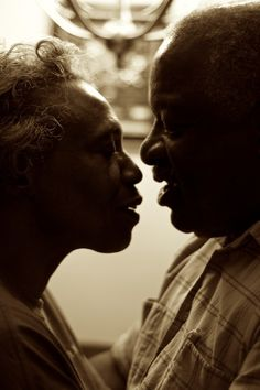 Black love about to kiss.