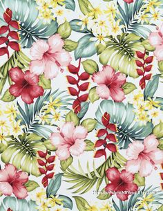 Tropical floral fabric: Pink hibiscus, heliconia, plumeria flowers and monstera leaves. Cotton dress quality. By HawaiianFabricNBYond.Etsy.com