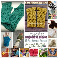 FREE crochet patterns for fingerless gloves from around the web. The gloves are quick to crochet up and perfect for fall and winter weather.