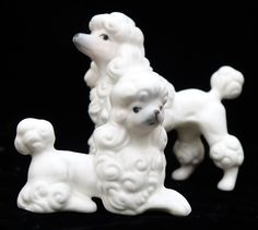 Poodles, Pair Mid century, Kitsch Poodle Figurines, Japan Vintage, White Dog Figures, Mod Modern, Gift for Her, Girl Present by ClassicEndearments on Etsy