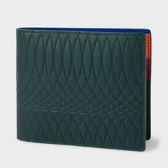 Paul Smith No.9 | Dark Green Leather Billfold Wallet With Multi-Coloured Interior