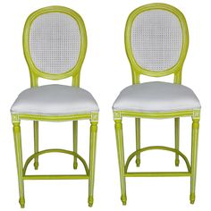 French Louis XV Lime & White Bar Stools - A Pair on Chairish.com