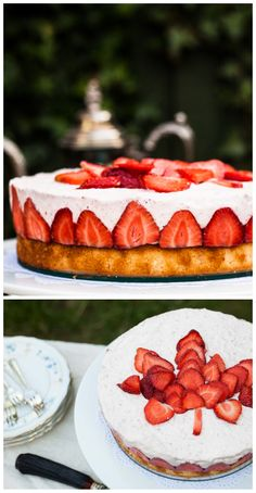 Frasier Torte or Canada Day Cake. Strawberry mousse on top of a vanilla cake-it tastes like summer!