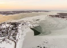 Dering Harbor Co. Shelter Island Aerial Photograph - February on Frozen Dering Harbor