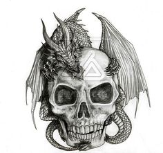 A dragon and his skull by alecan.deviantart.com on @deviantART