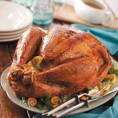 Lemon-Herb Roasted Turkey Lemon and thyme are the predominant flavors in this golden, tender and moist turkey that has just six ingredients. It's so easy, we guarantee success! —Felicia Smith, Georgetown, Texas http://www.tasteofhome.com/recipes/lemon-herb-roasted-turkey