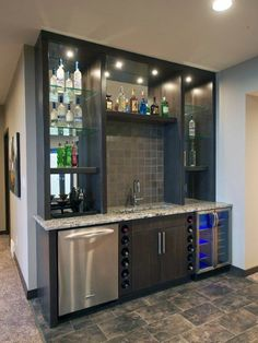 65 Best and Cool Home Bar Design Confused to make a bar room? On the topic of design for our favorite home is to discuss the design of the bar room that will be in our home. Wet Bar Basement, Basement Bar Designs, Basement Ideas, Rustic Basement, Modern Basement, Industrial Basement, Basement Kitchen, Bar Kitchen, Basement Finishing