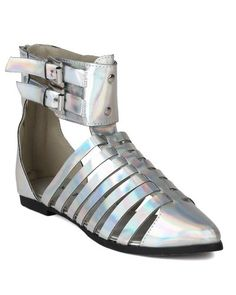 835d6adc77fa2a Nature Breeze AI50 Women Metallic Strappy Pointy Toe Buckle Flat Sandal  Silver Size 80 --
