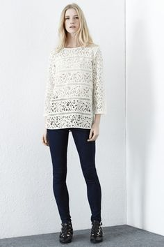 60s Style | Cream Lace Panel Top | Warehouse