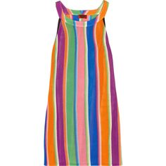 Missoni Striped crochet-knit dress (955 AUD) ❤ liked on Polyvore featuring dresses, missoni, psychedelic, rainbow, purple, rainbow striped dress, rainbow dress, purple dress, striped dress and knit mini dress