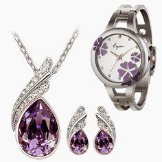 Cyan Purple Austrian Crystal Set With Bracelet Watch Combo for Girls