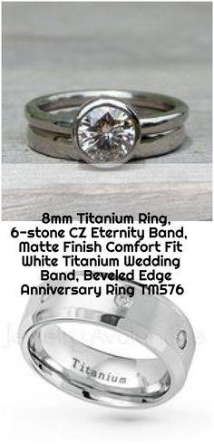 Titanium Ring, CZ Eternity Band, Matte Finish Comfort Fit White Titanium Wedding Band, B Titanium Rings, Anniversary Rings, Eternity Bands, Wedding Bands, Platinum Wedding, Wedding White, Engagement Rings, Crystals, Stone