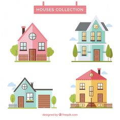 House Clipart, House Vector, Paper Dolls Printable, Cute House, House Drawing, Retro Illustration, Book Projects, Preschool Art, Diy Canvas