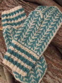 Finely Hand Knitted Estonian Mittens FREE SHIPPING in Green and White. $52.00, via Etsy.