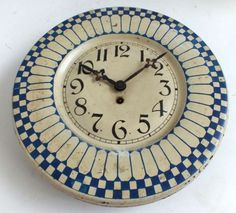 French Tin Blue N White Dish Wall Clock Large 8 Day Dial Kitchen Hall Wall Clock | eBay