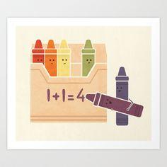 Not The Brightest Crayons Art Print by Teo Zirinis - Black Framed Wall Art, Framed Art Prints, Punny Puns, Acrylic Wall Art, Crayon Art, Cute Illustration, Black House, Crayons, Retro