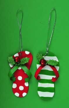 Pair of Metal Flip Flops Christmas Tree Ornaments