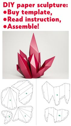 Papercraft Crystal, paper mnodel, PDF template diamond – Famous Last Words Origami Rose, Instruções Origami, Paper Crafts Origami, Diy Paper, Paper Crafting, Paper Craft Templates, Diamond Origami, Paper Wall Art, 3d Prints