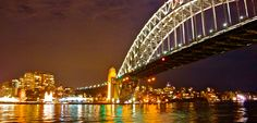 The Sydney Harbour Bridge and North Sydney with the lights of Vivid