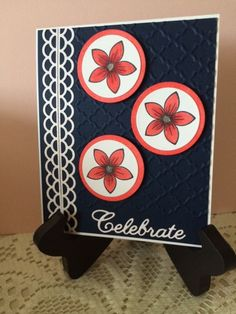 For the Cheery Lynn Designs Challenge 187 Red White and Blue -http://cheerylynndesigns.blogspot.com/search/label/challenge.   I used the scalloped border die and the celebrate die.  Stamp is from Gina K Designs and colored with Spectrum Noir Markers.