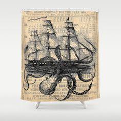 Octopus+Kraken+attacking+Ship+Antique+Almanac+Paper+Shower+Curtain+by+Paper+Rescue+Designs+-+$68.00