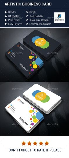 Artistic Business Card — Photoshop PSD #psd #design • Available here → https://graphicriver.net/item/artistic-business-card/14449296?ref=pxcr