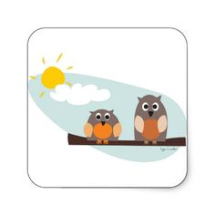 from http://www.zazzle.com/funny_owls_on_branch_on_sunny_day_square_stickers-217117769632612437