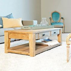 Table basse rectangulaire TECK RECYCLE 120cm GARDENANDCO | La Redoute Mobile