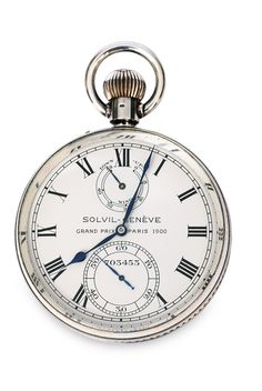 """A rare chronometer by Solvil Genève  Switzerland, c. 1914. Sterlingsilver, marked """"925"""", numb. 703453. Backside marked """"Paul Ditisheim Compensateur Guillaume"""", inside marked """"Chronomètre de Bord No. 703453 Solvil Genève 600 Prix d"""" Ètat"""" and """"Solvil Genève Grands Prix Paris 1910 - Berne 1914 - 21 Rubis Swiss Made"""". Cremecoloured dial with roman numerals, blue hands, small field for seconds and small field labelled """"Wind down - up"""". Functioning."""