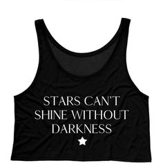 Stars Can't Shine Without Darkness Boxy Crop Tank Hipster Shirt 90s... ($15) ❤ liked on Polyvore featuring tops, black, tanks, women's clothing, loose fit shirt, cut loose shirt, loose shirt, loose crop tank and cropped tank top