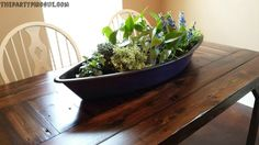 Of course The Party Pirogue is great for ice-cold drinks and hot, spicy, boiled seafood! But look what a wonderful planter or table centerpiece it makes!