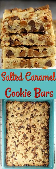SALTED CARAMEL COOKIE BARS loaded with chewy caramel, chocolate chips and toasted pecans! #recipe #caramel #pecans #cookies