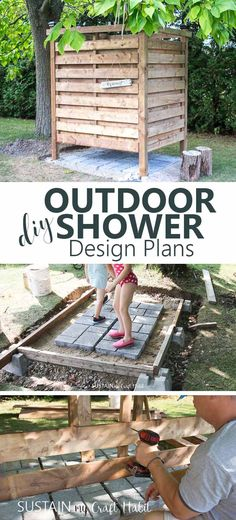 DIY Outdoor Shower Enclosure Plans [with VIDEO!] Keep the sand out of the cottage with an outdoor shower! Learn how to build your own with this step-by-step DIY outdoor shower enclosure tutorial. Includes design plans and video. Outdoor Baths, Outdoor Bathrooms, Outdoor Kitchens, Chic Bathrooms, Bathroom Vanities, Bathroom Ideas, Outdoor Spaces, Outdoor Living, Outdoor Decor