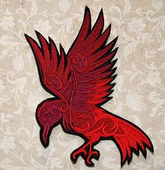 Red Raven Baroque Swirls Iron On Embroidery Patch by MTthreadz