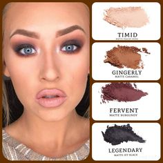 Do you want to recreate this amazing #eyemakeup? #matte peachy nude (timid), caramel (gingerly), burgundy (fervent) and jet black (legendary). Build your own quad at www.taniaslashes.com #younique #taniaslashes #smokeyeye #falllook