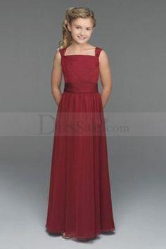 f0fa785d1b8 Simple but Elegant Burgundy Chiffon Young Bridesmaid Dress