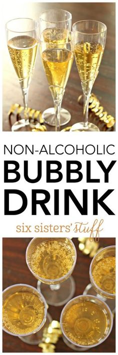Mock Champagne - A non-alcoholic bubbly drink - looking for a fabulous drink everyone can enjoy for New Years or any get together? Try this easy, 3 ingredient drink! Party Drinks Alcohol, Drinks Alcohol Recipes, Punch Recipes, Non Alcoholic Drinks, Drink Recipes, Party Recipes, Holiday Recipes, Refreshing Drinks, Summer Drinks