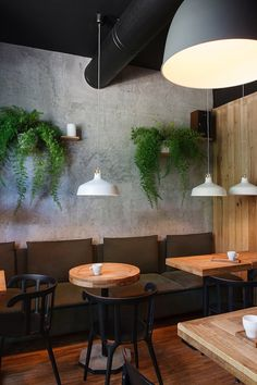 I Feel espresso bar, Kryvyj Rih, 2015 - Azovskiy & Pahomova architects Restaurant Bar, Industrial Restaurant, Modern Restaurant, Bar Design, Coffee Shop Design, Espresso Bar, Deco Cafe, Mein Café, Decoration Vitrine